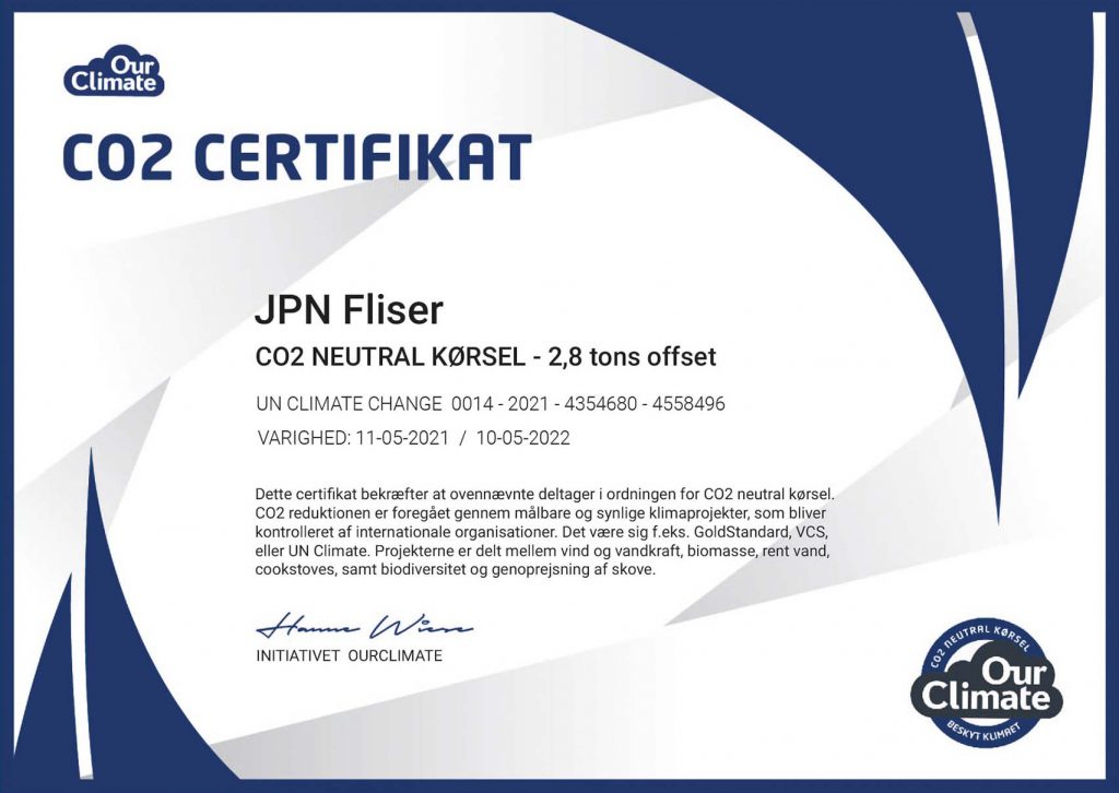 OurClimate CO2 Certifikat