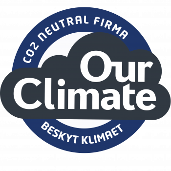 Blå OurClimate CO2 neutral firma